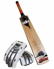 WH Silver Grade 2, English Willow Cricket Bat With Free WH Silver Batting Gloves
