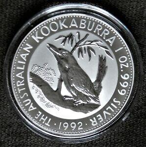 1992 AUSTRALIAN KOOKABURRA  1oz .999 SILVER COIN ~ GEM UNCIRCULATED~ENCAPSULATED