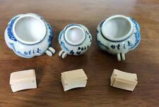 1set 3pcs Asian Bamboo Bird Cage Bamboo food ceramics Pumpkin cups鸟食�7015