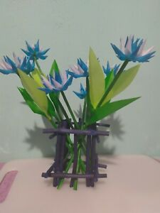 NEW Wooden Handmade VASE with 10 Blue Flowers Home, Office TABLE Decoration