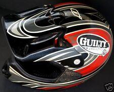 O'NEAL Red MotoCross ATV Dirt Bike Off Road Helmet Mac's Racing & Guilty Sticker