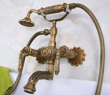 Retro Antique Brass Carved Wall Mounted Bathroom Clawfoot Tub Faucet Tap yna222