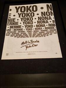Yoko Ono Hell In Paradise Rare Original Radio Promo Ad Framed!