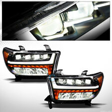 Fit 07-13 Tundra/Sequoia Black Full LED Sequential Bar Quad Projector Headlights