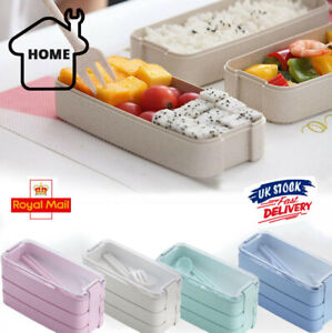 3-Layer Bento Box Spoon Lunch Box Eco-Friendly Leakproof Food Container 900ml UK