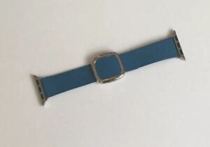 Genuine Apple LEATHER Watch Strap Modern Buckle Cape Cod Blue 38mm / 40mm Med