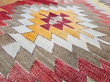"Bohemian Antique Tribal Flat-woven Kilim Rug from Sivas Cappadocia 5'2""×12'5 """