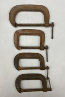 "Set of 4 Vintage Craftsman, Brink & Cotton C Clamps 4-6"" Cast Iron"