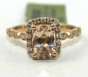 Radiant Cut Pink Morganite & Diamond Halo Solitaire Ring 14k Rose Gold 1.60Ct
