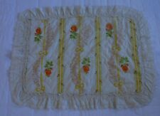 Vintage Pillow Sham Standard Jc Penney Orange Yellow Eyelet Ruffle Roses Quilted