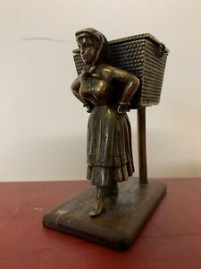 Antique 19 Century Figural Bronze Woman Lady Inkwell Rare
