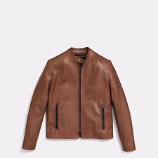 $995 Retail - Authentic Mens Coach Saddle Brown Leather Racer Jacket M Medium