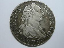1778 MADRID 2 REAL CHARLES III SILVER SPANISH COLONIAL SPAIN