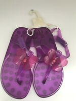 baby Gap NWT Girl's Clear Purple Jelly T Strap Sandals Swim Jellies  size 11