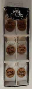Set of 6 Decorative Cork Wine Glass Charms