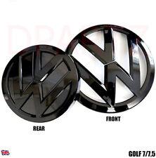 GOLF MK 7 / 7.5 ALL GLOSS BLACK FRONT & REAR VW BADGE EMBLEM SET Gti Tdi r Gtd 7