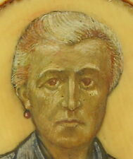 Curiosité portrait de femme ? miniature à l'huile et beau cadre French painting