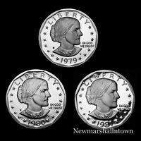 1979 1980 1981  S Susan B Anthony Mint Proof Set Lot of 3 U.S. Dollars
