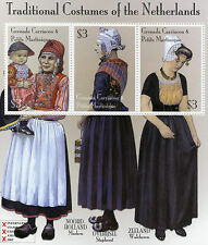 Grenadines Grenada 2002 MNH Trad Costumes of Netherlands 3v M/S Marken Stamps