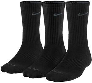 NEW 2018 - Nike Dri-Fit Crew Socks 3 Pairs Mens Black SX4827-001 - SIZE L (8-12)