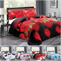3 Piece Duvet Quilt Cover Brushed Fabric Floral Bedding Set Single Double & King
