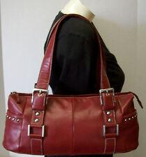 Worthington Red Leather Satchel Shoulder Bag Studded Buckle Handbag Purse Tote