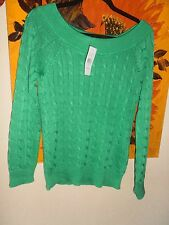 BNWT Ralph Lauren Boat Neck Jumper Cable Knit  Emerald Green Small rrp £85