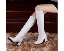 stivali  invernali comodi eleganti  tacco 6 cm pelle sintetica bianco  8951