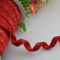 10y Red Metallic Glitter Ribbon Merry Christmas Gift Wedding Craft Appliques