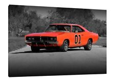1969 Dodge Charger - General Lee 30x20 Inch Canvas - Dukes of Hazzard Picture