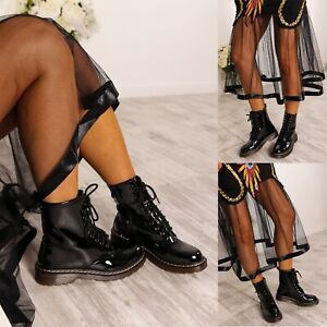 LADIES WOMENS LOW BLOCK HEEL ANKLE COMBAT CHUNKY LACE UP FASHION BOOTS SIZE 3-8