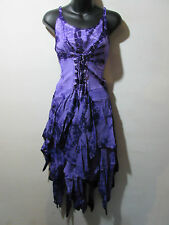 Dress Fits XL 1X 2X Plus Purple Tie Dye Corset Lace Up Layered Sundress NWT G209