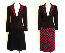 ADOLFO 3pc Suit Black Red Wool and Silk Vtg Jacket w 2 Skirts 90s 2000s S to M