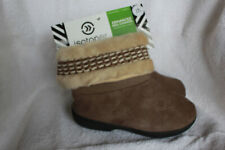 Isotoner Woodlands Boot Slippers Enhanced Heel LG 8.5-9 Smoky Taupe NWT