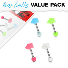 4pc Value Pack Glow in the Dark Star Steel Tongue Rings 14g Tounge Body Jewelry