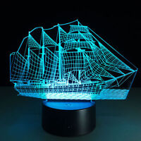 7 Color Touch Switch Sailboat 3D illusion LED Night Light Table Desk Lamp Gift