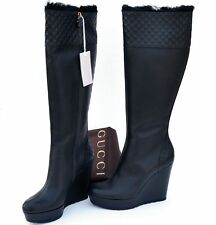 GUCCI New sz 39.5 9.5 Auth Designer Guccissima GG Womens Boots Shoes zip black