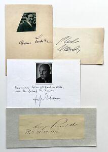 Sammlung von 4 Autogrammen. Pablo Neruda, Pirandello, Lubitsch, Ernst Salomon.