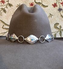 STERLING SILVER TURQUOISE NAVAJO Handmade BRAIDED Hatband HAT BAND BROWN