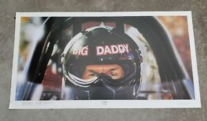 Jeff Caudle HE'S BACK Don Garlits Signed Poster 1994 Lithograph, 2 Autographs