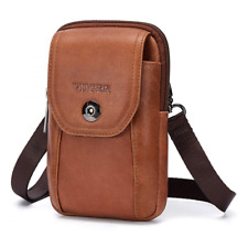 VIIGER Vertical Leather Small Travel Man Purse Crossbody Phone Bag Large Cell Po