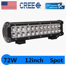 12INCH 72W CREE LED Work Light Bar Spot Beam for Offroad JEEP SUV 4WD 6000LM ATV