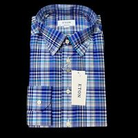 Eton Contemporary Fit Blue Plaid Dress Shirt Size 17.5 (44) $285