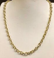 """18k solid yellow gold handmade Rolo link men's chain/necklace 28"""" 70 grams 6 MM"""