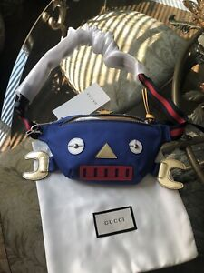 100% Authentic GUCCI Kids Blue Canvas Belt Bag