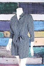 Petticoat Alley ModCloth Black Blue Polka Dot Belted Mini Tunic Shirt Dress XS