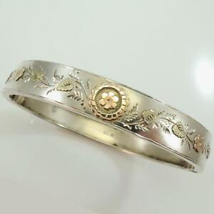 Antique Victorian Silver Rose Yellow Gold Bangle Dated 1876