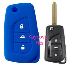 BLUE SILICONE CAR KEY COVER for TOYOTA CAMRY COROLLA SPORT 2013 2014 ASCENT