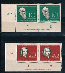 DDR 631-632 DV, Darwin + Linne 1958, 10,20 Pfg. mit Druckvermerk,** DV LUXUS