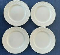 (4) Picnic by Oneida White Bread Plates Embossed Basket Weave | PRISTINE